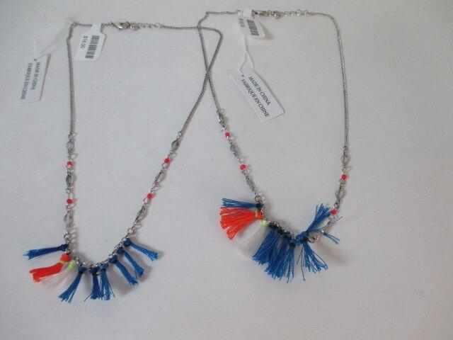 Anthropologie WOmen's Orange Blue Fringe Silver Necklace NWT $18 Set of 2