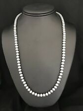 Native American Sterling Silver 6 mm Navajo Pearls Bead Necklace  23 Inch