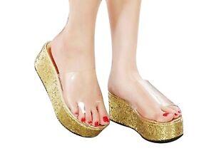 40a08bba1e5e Image is loading Wedge-Sandals-Slip-on-Platforms-Transparent-GOLD-Glitter-