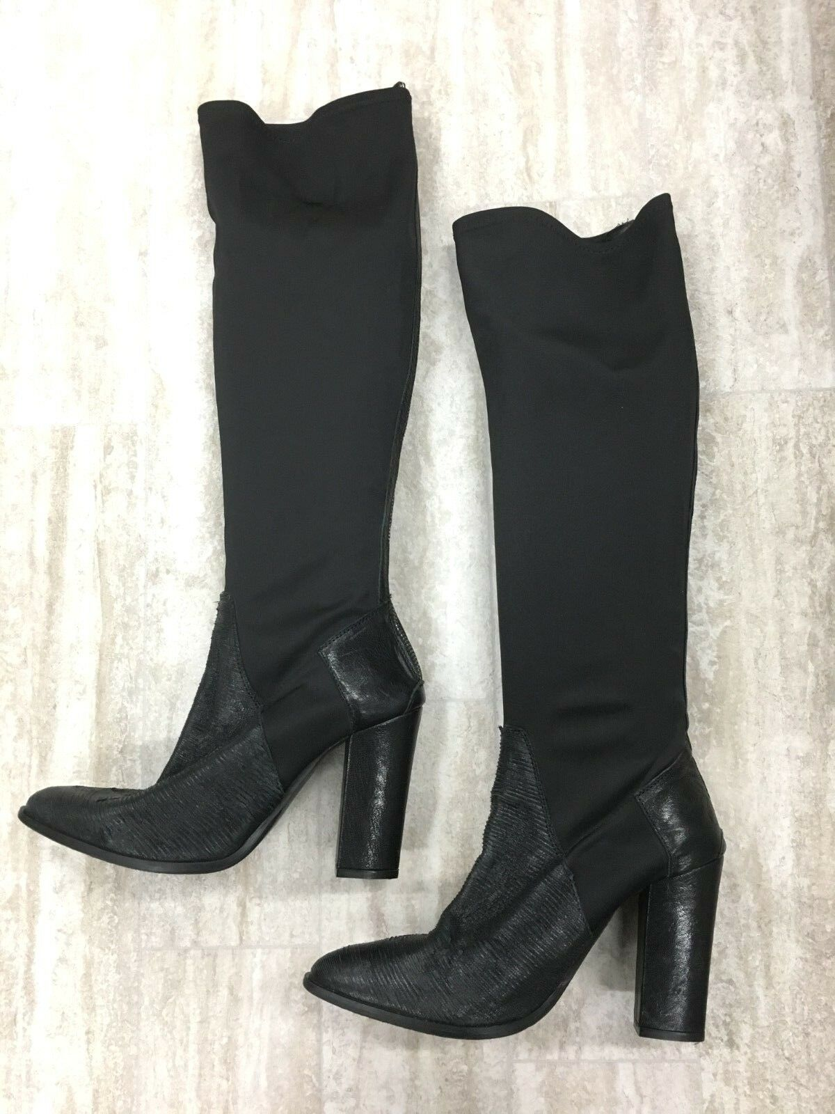 Charles by Charles David Knee High Black Leather Stretch Nylon Boots SZ 10.5