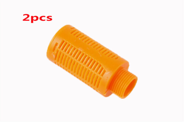 "1//4/""PT Thread Orange Plastic Air Exhaust Pneumatic Muffler Filter Silencer 2 Pcs"