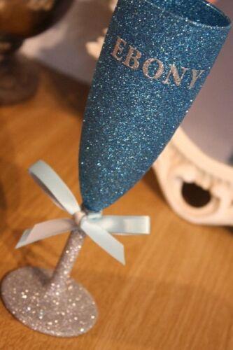 Glitter CHAMPAGNE PROSECCO FLUTE or WINE GLASS Birthday 18th 21st 30th 40th 50th