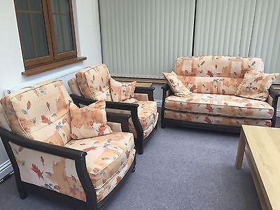 Designer Ercol Bergere 3 Piece Suite Sofa 2 Armchairs Ebay