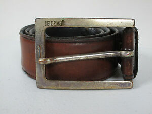 Mens-Just-Cavalli-Brown-Distressed-Leather-Belt-Size-32-With-A-Silver-Buckle