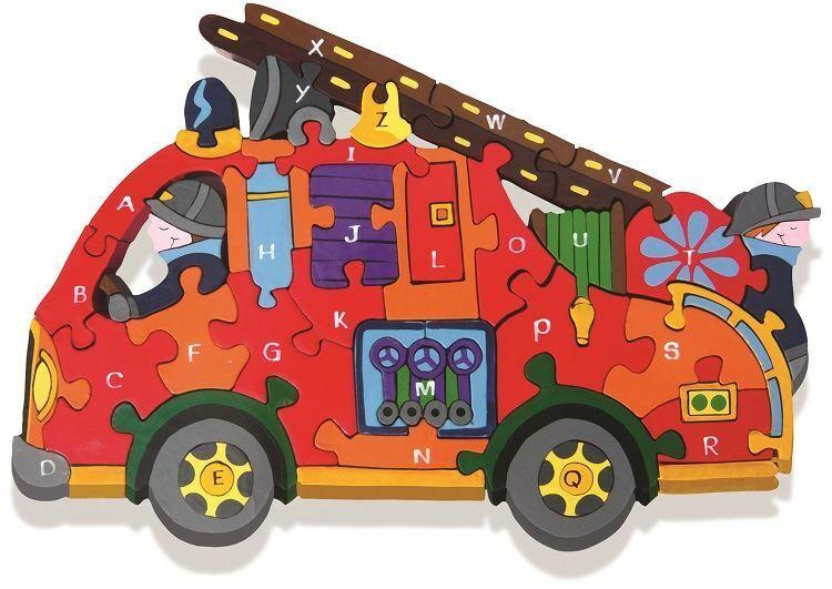 Alphabet Jigsaws - Holz Feuer Motor A-Z Puzzle - Hell & Educational-33.5x22