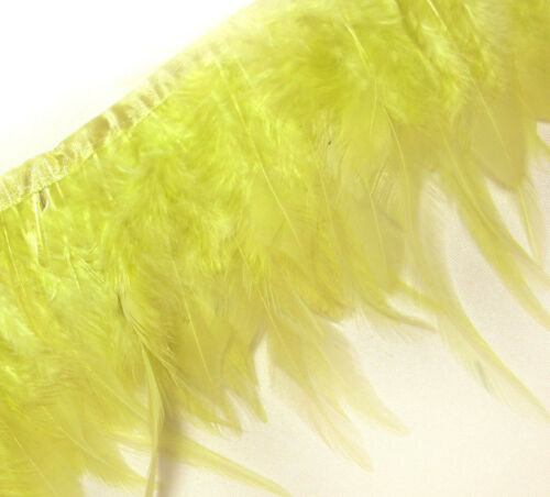 F235 PER 30cm-Lime Yellow Rooster Hackle feather fringe Trim Fascinator Material
