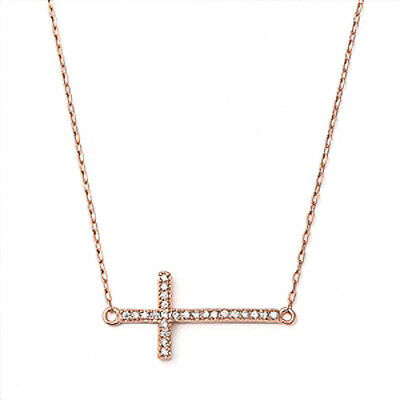 Rose Gold Plated Sideways Cz Cross .925 Sterling Silver Pendant Necklace
