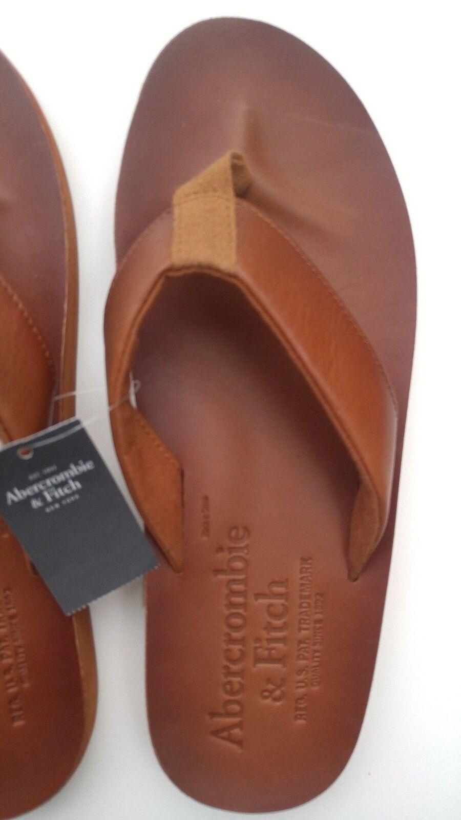 ddd3f861caf NEW Abercrombie   Fitch Leather Flip Flops Flops Flops - Men s size L Large  SAVE!