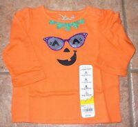 Jumping Beans Girls 6 Months 2t Halloween Pumpkin Glasses Shirt Top