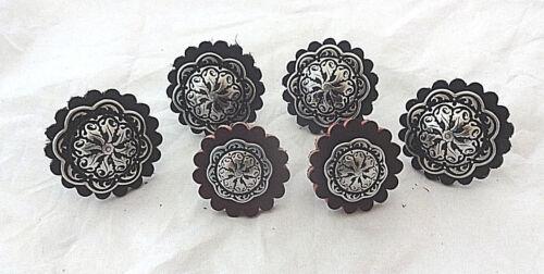 Saddle Set Conchos Set of 6 Black Leather Rosettes Wood Screws Jeremiah Watt New