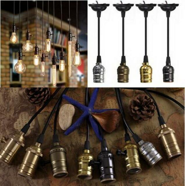 Ceiling Pendant Vintage E27 Screw Bulb Lamp Holder with Wire Cord Grip