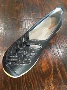 Women-039-s-Black-Leather-Lattice-Flats