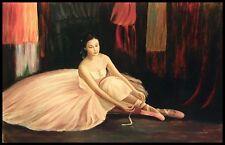 """36 """"X 24"""" Pintura al óleo sobre lienzo, Bailarina De Ballet, Pintado A Mano"""