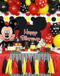 Details about 43pcs Mickey Mouse Birthday Party Decorations Supplies  Backdrop Balloons Tassels