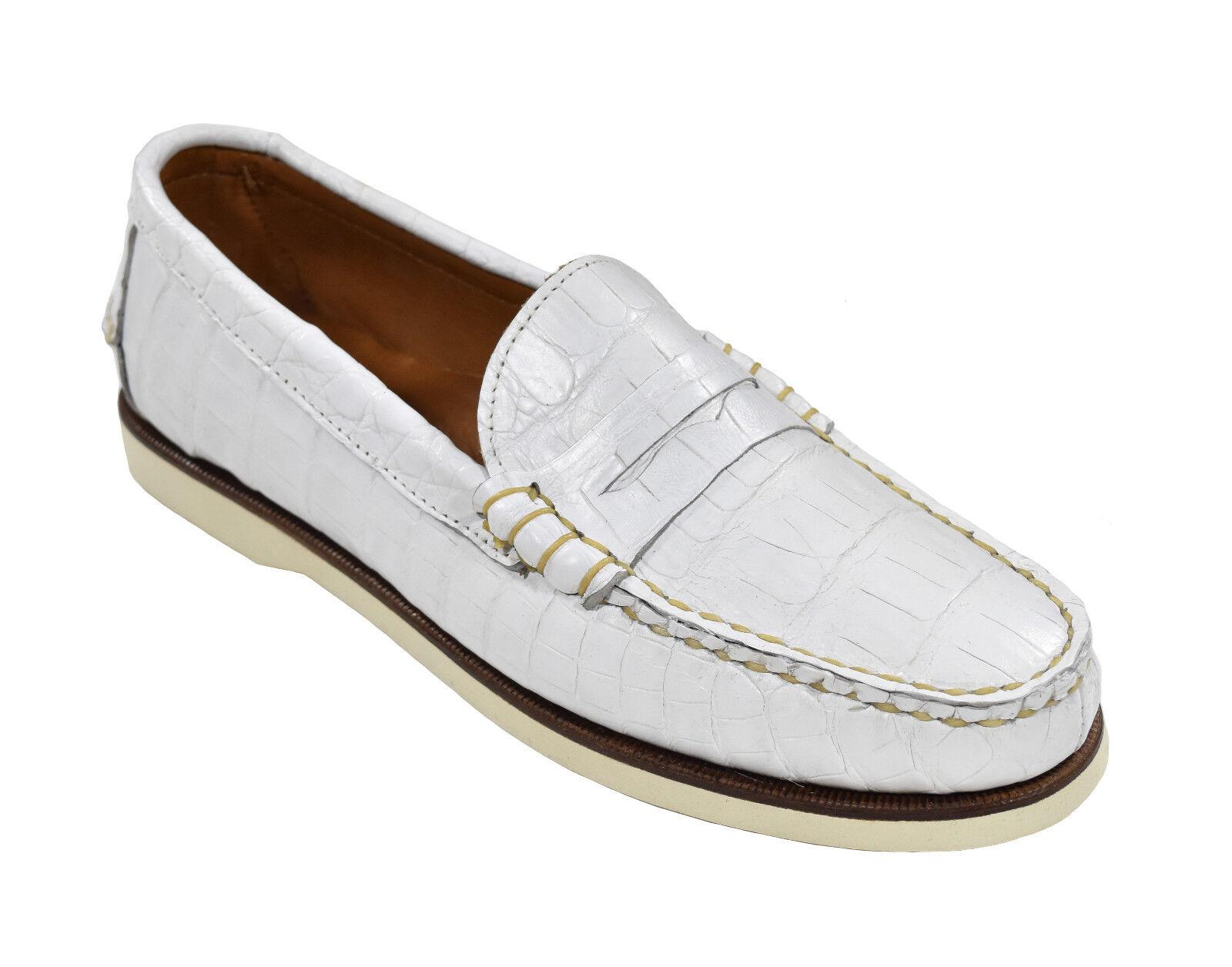 Ralph Lauren Violet Étiquette Blanc Crocodile Tamworth Chaussures Bateau