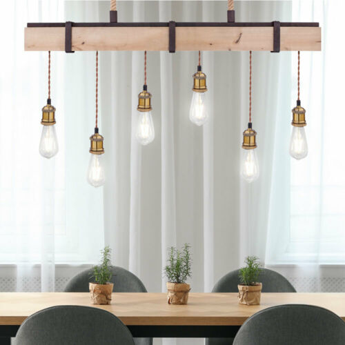 Vintage Stil Balken Pendel Decken Lampe Holz natur Küchen Retro Hänge Lampe rost