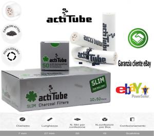 ActiTube - 50 Filtri a Carboni Attivi Slim Cadauna da 7 mm Fumo Sigarette