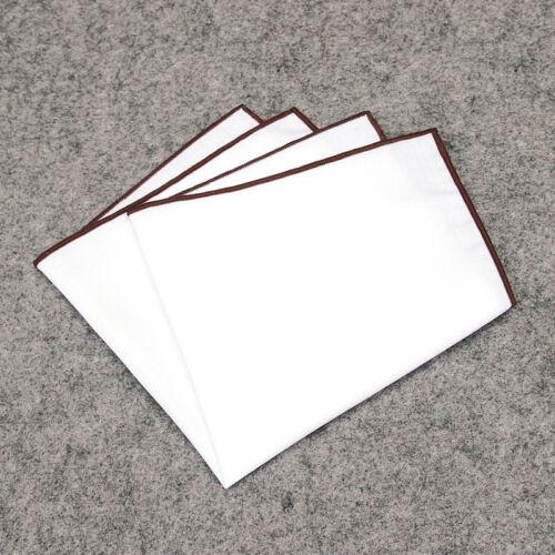 Wholesale Men Pocket Square Handkerchief  Cotton Solid Multi Color Edge