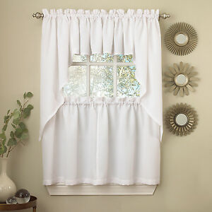 Details about White Solid Opaque Ribcord Kitchen Curtains - Choice of Tiers  Valance or Swag