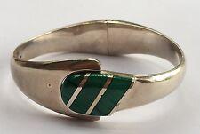 Vtg BOLD Modernist Mexican Taxco 925 Sterling Silver Green Malachite Bracelet