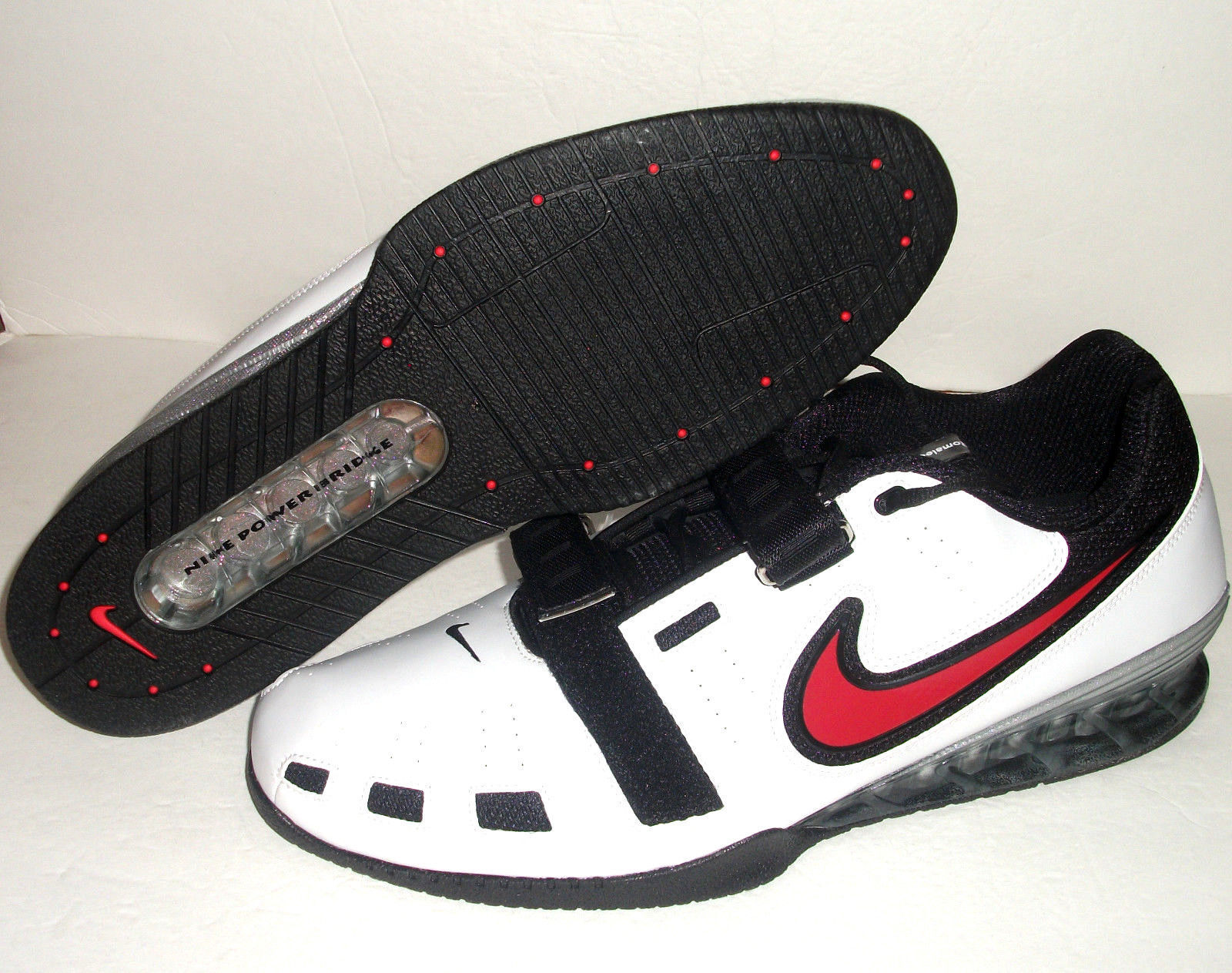 Nike Romaleos 2 Weightlifting Powerlifting Shoes White Red  476927-161 Sz 17