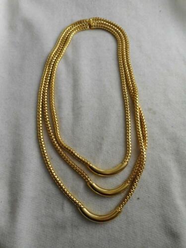 Gorgeous Vtg Unusual Designs Yellow Gold Tone Metal Wire Mesh Basket Weave With Meander Greek Fret or Greek Key Motif Barrel Shaped Necklace