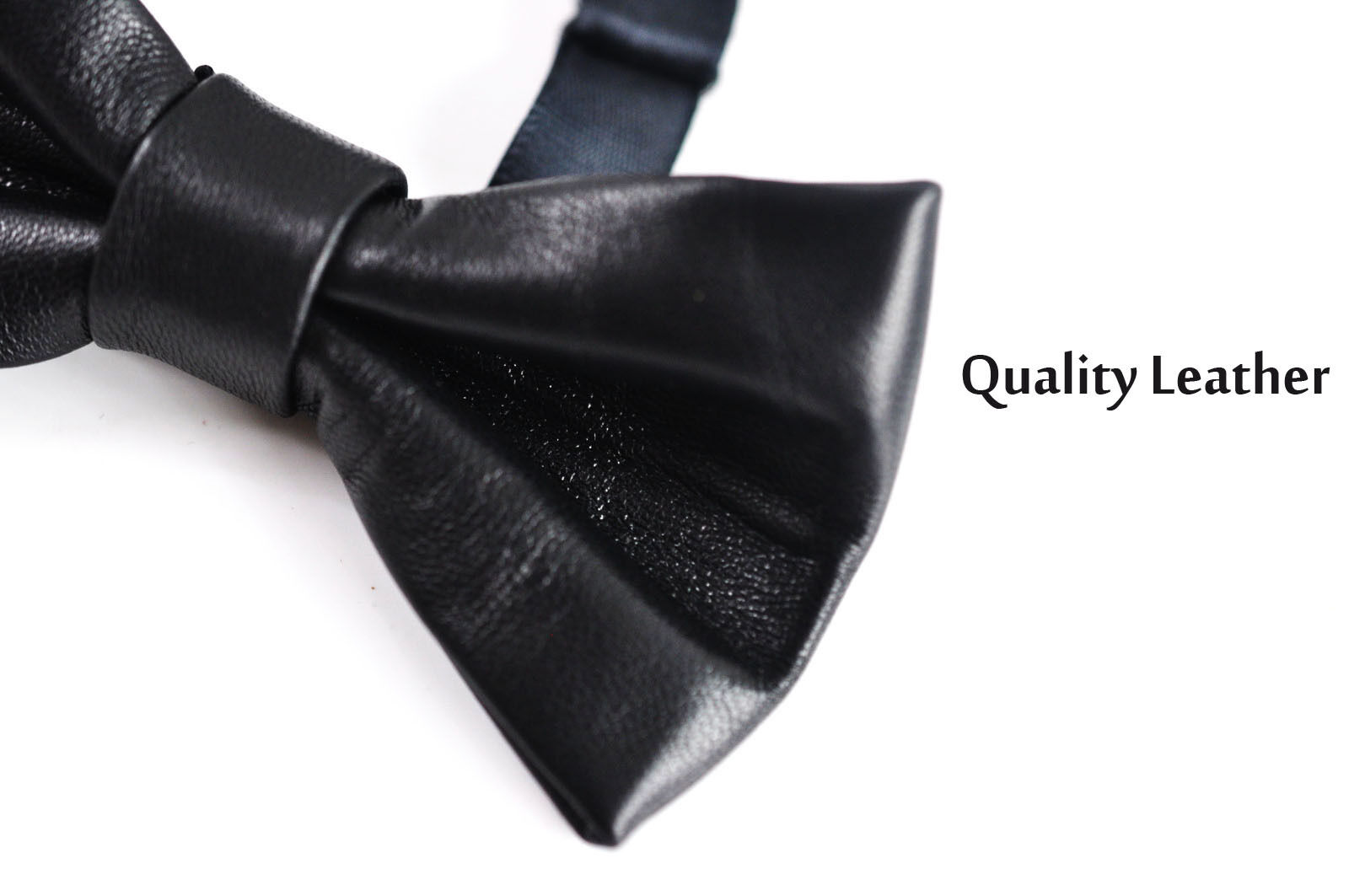men 100 real genuine leather solid black shining bow tie bowtie wedding party ebay. Black Bedroom Furniture Sets. Home Design Ideas