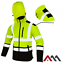 Hi Vis Viz Visibility Fleece Jacket Rain Patch Safety Work Warm Soft Shell Hood