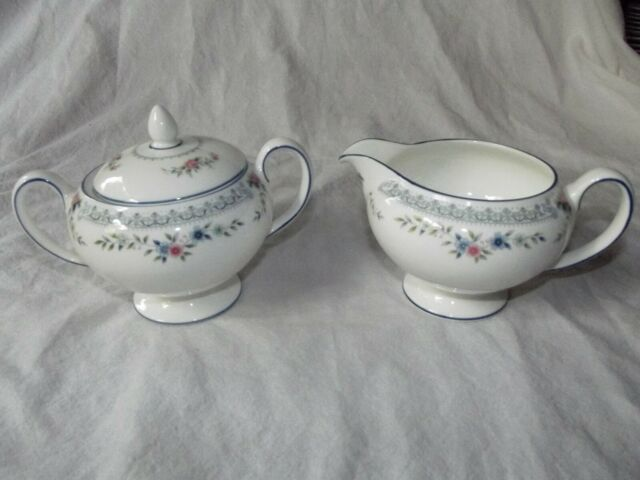 Peony and Strawberry Blue Bone China Sugar and Creamer Set