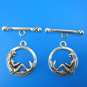 20sets 16mm antiqued silver mermaid toggle clasps G213