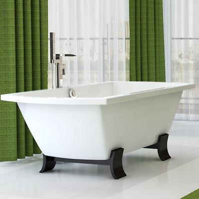 Roll Top Bath Freestanding Bath Tub 1800 Double Ended ; Acrylic White Wood Feet