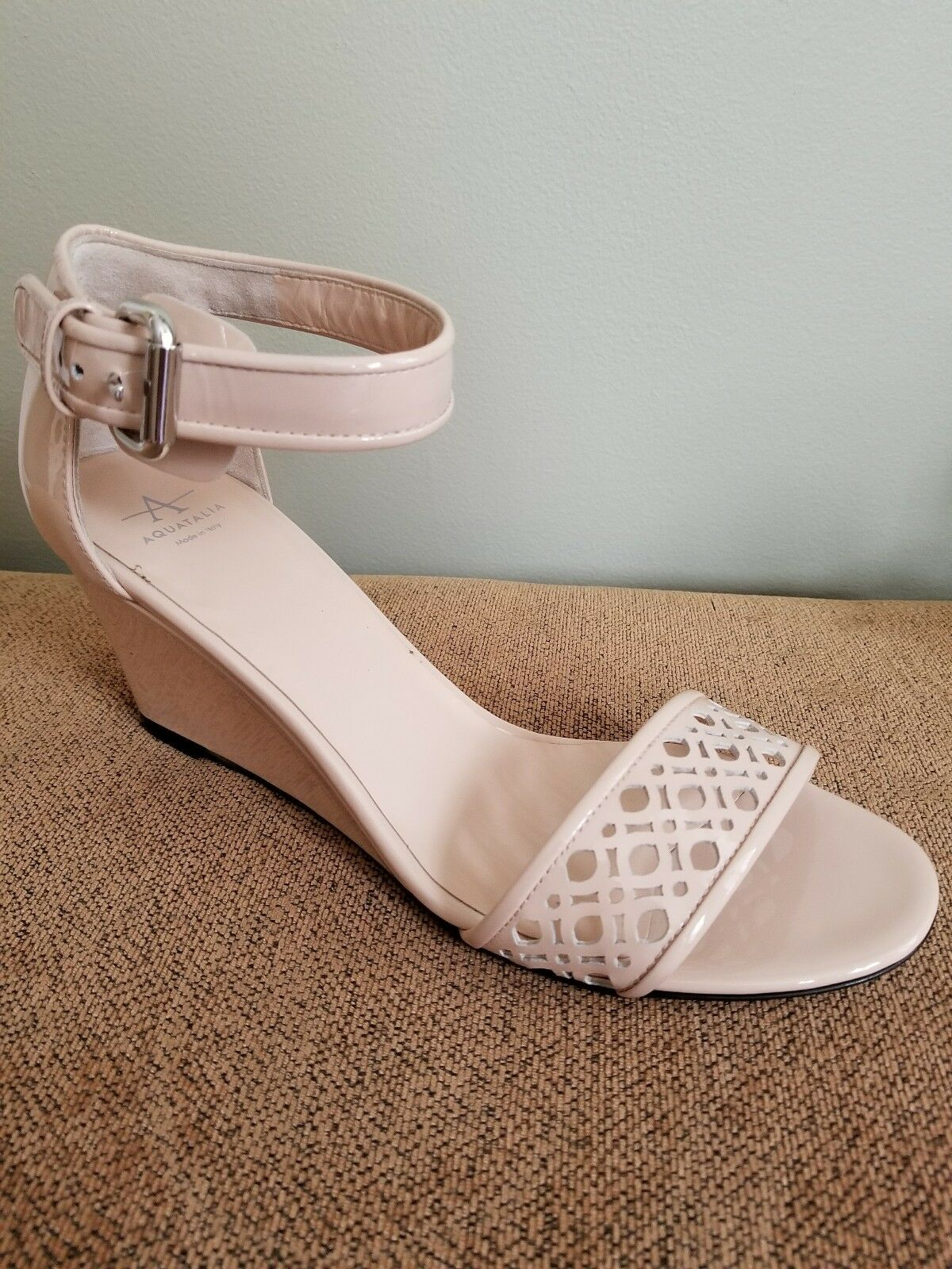 Aquatalia Doria Size 9 Patent Women's Wedge Sandals, bluesh MSRP  395