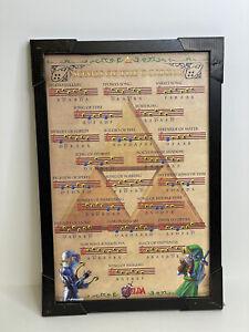 "Nintendo N64 Zelda Ocarina Songs Video Game Room Wall Art Print  13""X19""  Framed"