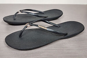 5a1994294bf3 Image is loading Havaianas-039-Ring-039-Flip-Flop-Black-Womens-