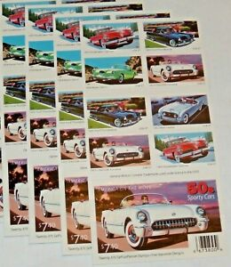 Four Booklets x 20 = 80 Of SPORTY CARS 37¢ US PS Postage Stamp. Sc # 3931-3935