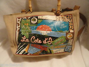 Purse-Handbag-Relic-Safari-Canvas-Beige-Tan-Bamboo-Handle-Shoulder-Strap-Add-on