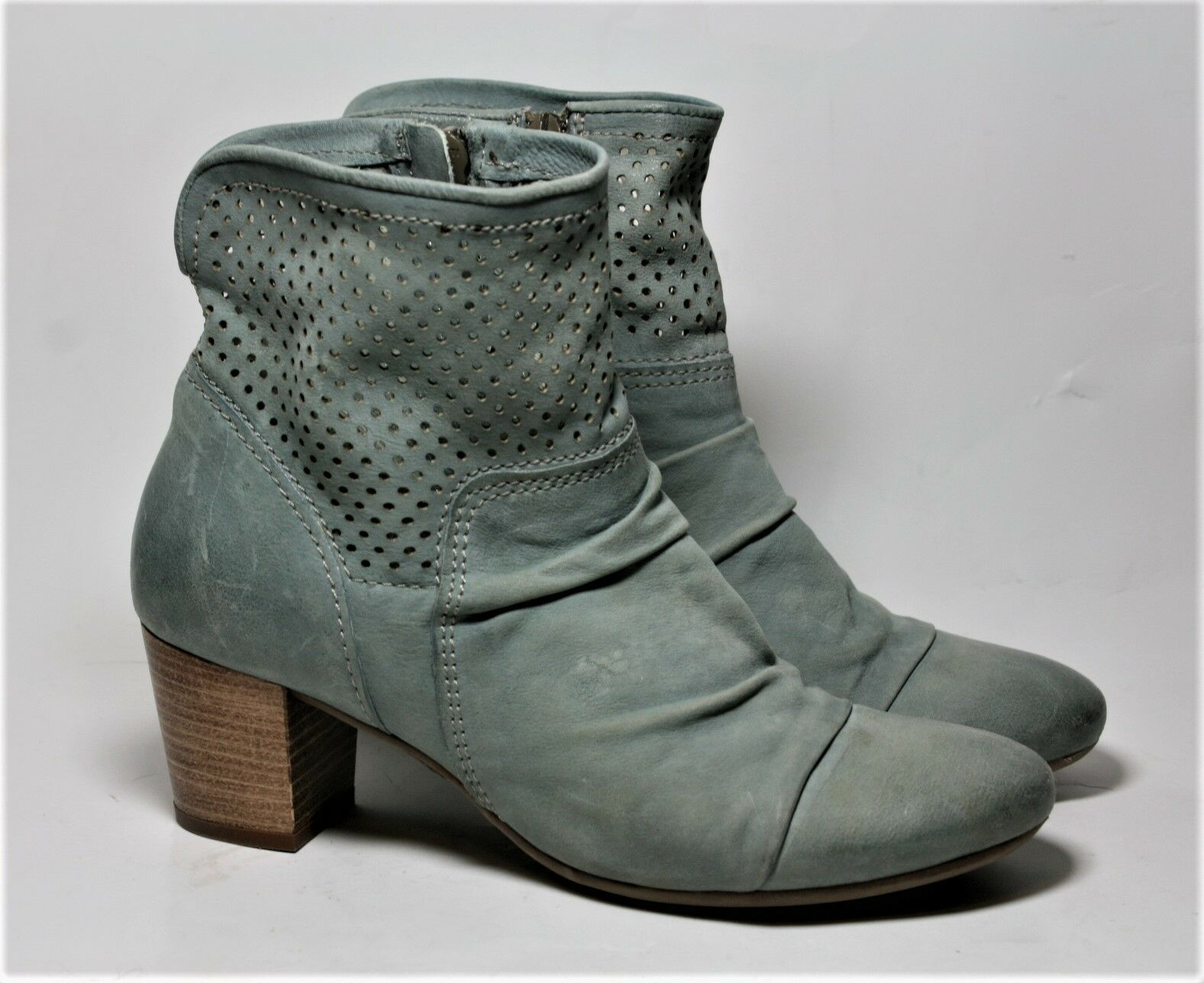 MJUS SHOES LIGHT blueE LEATHER PERFORATED ANKLE BOOTS 37 BOOTIES SIDE ZIP