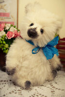 Artist teddy bear, mini bear, artist bear, white bear, 5in, ooak bear, kawaii