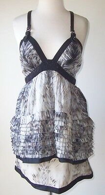 ROBERTO CAVALLI Feather Print Silk Sequin Low Cut Leather Harness Dress 40 4