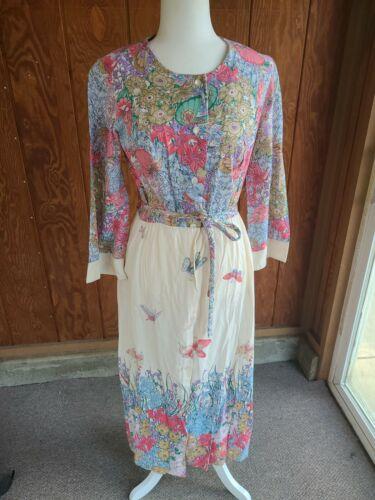 Vintage 1960s Boho Maxi Dress, Butterfly & Flowers