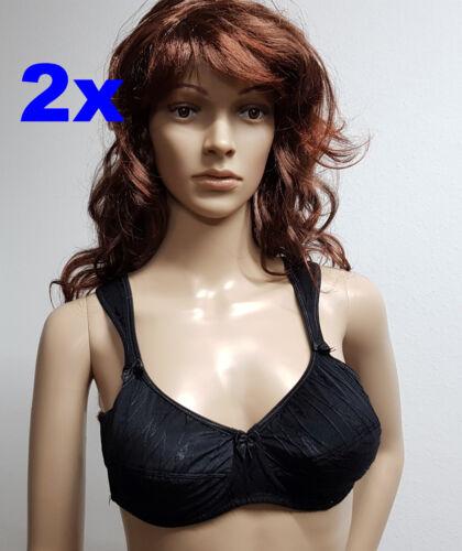 2 x Entlastungs BH 80 C Under /& Over Fashion Schwarz  mit Bügel  breiten Trägern
