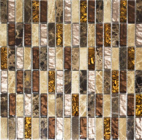 Glasmosaik pierre naturelle baguettes beige//marron Mur Salle De Bain Sauna87-1310/_f10 nattes