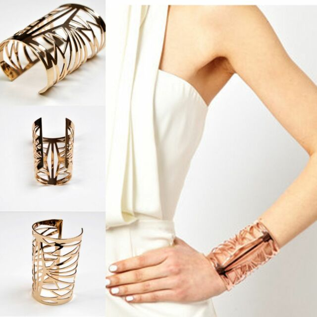 New Arrival Exaggerated Women Hollow Cuff Gold Wide Arm Bracelet Cut Out Bangle