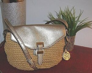 622764a3f0fb1a Image is loading new-Michael-Michael-Kors-Straw-Metallic-Leather-Naomi-
