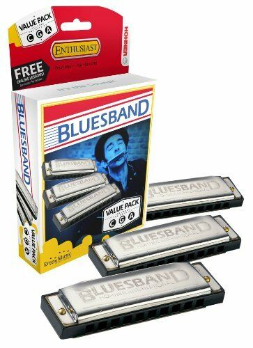 Hohner Bluesband Harmonica Set of 3 G and A Value Pack keys of C