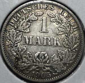 1905-A-Germany-1-Mark-Silver-Coin-VF-Condition