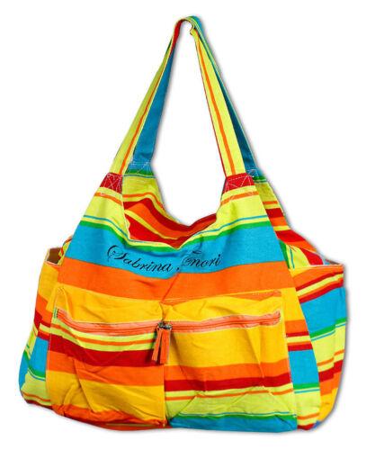 Borsa mare in tela righe colorate base rinforzata spiaggia piscina 5 tasche