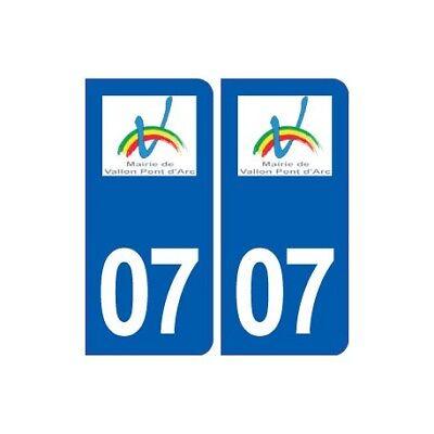 07 Vallon-pont-d'arc Logo Ville Autocollant Plaque Stickers Arrondis
