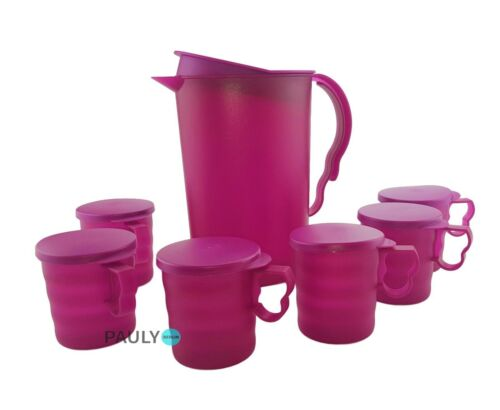 6 Becher 350 ml Henkelbecher Saftkanne lila Tupperware Junge Welle Kanne 2,1 l