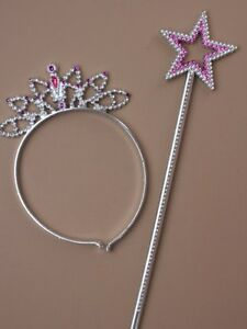 Pink or Purple Girls Star Wand And Tiara Set Fancy Dress//Dressing Up//Party